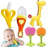 O³ Mordedor Bebe Refrigerante -5 Juguetes Bebes- Mordedor Bebes Congelador Fruta +Cepillo Dientes Bebe + Chupete Fruta Bebe-A