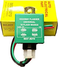 Best Auto Universal Auto Highway Indicator Flasher with 10 Modes (Code-87)
