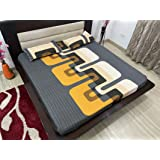 TIB Geometrical 100% Cotton Elastic Fitted King Size Bedsheet with 2 Pillow Covers - Yellow-Blue