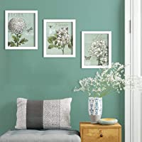 Painting Mantra - Aqua Flora Set of 3 White Framed Painting,UV Textured Art Prints (9 x 11 inch)