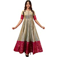 Shehzadi Women's Full Stiched Gown Silk Sungudi South Indian Style Gown (Grey, XX-Large)