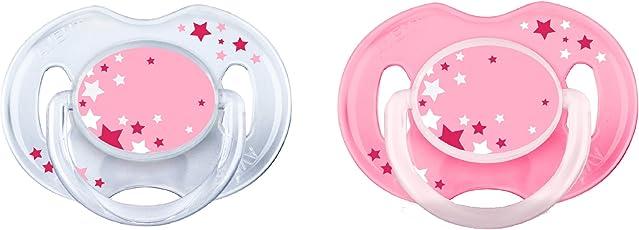 Philips Avent Schnuller für die Nacht 0-6 Monate SCF176/28,  Doppelpack, Mädchen, weiß/rosa