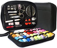 LifeMaster Travel Sewing Repair KIT, Set w/Over 100 Supplies & 24-Color Threads & Needles | Compact, Portable Mini...