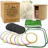 Discos desmaquillantes reutilizables ecologicos. Grandes suaves y lavables. Caja Regalo con Discos de Bambú, Toallitas, Diade