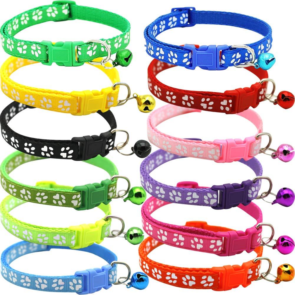 BETOY – Collar para Mascotas con Campanas, Collar Reflectante Personalizado Ajustable, Reutilizable, Felpa Suave, Cuello de Piel de Animal doméstico de para Gatos, Cachorros(12 pcs)