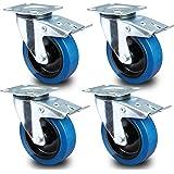 PRIOstahl® transportwielen zwenkwiel met rem blauw | 80mm 100mm 125mm | blauwe wielen | zwenkwiel met rem (4 wielen) 4 Stück