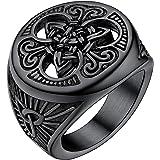 خاتم U7 رجالي عتيق مطلي بطبقة من الفولاذ المقاوم للصدأ للفايكنغ تريكيترا عقدة سلتيك خاتم سيجنت، فضي/أسود/ ذهبي، لون مخصص للحف