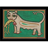 Tallenge - Cat And Lobster - Jamini Roy - Medium Framed Canvas ( Canvas,17 x 24 inches, MultiColour)