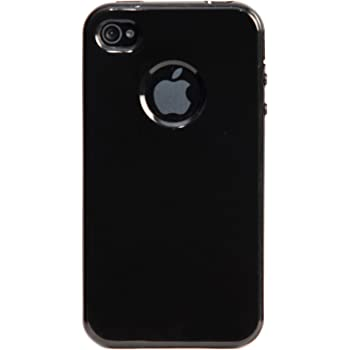 iAccy IP4S012 Logo Cutout Glossy Soft Case for Apple iPhone 4/4S (Black)