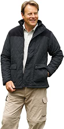 Champion Clothing Mens Champion Lewis Country Estate Traditional British Clothing Warm Diamond Quilted Fleece Lined Jacket Coat Corduroy shoulder patches Fishing Casual Walking Countrywear