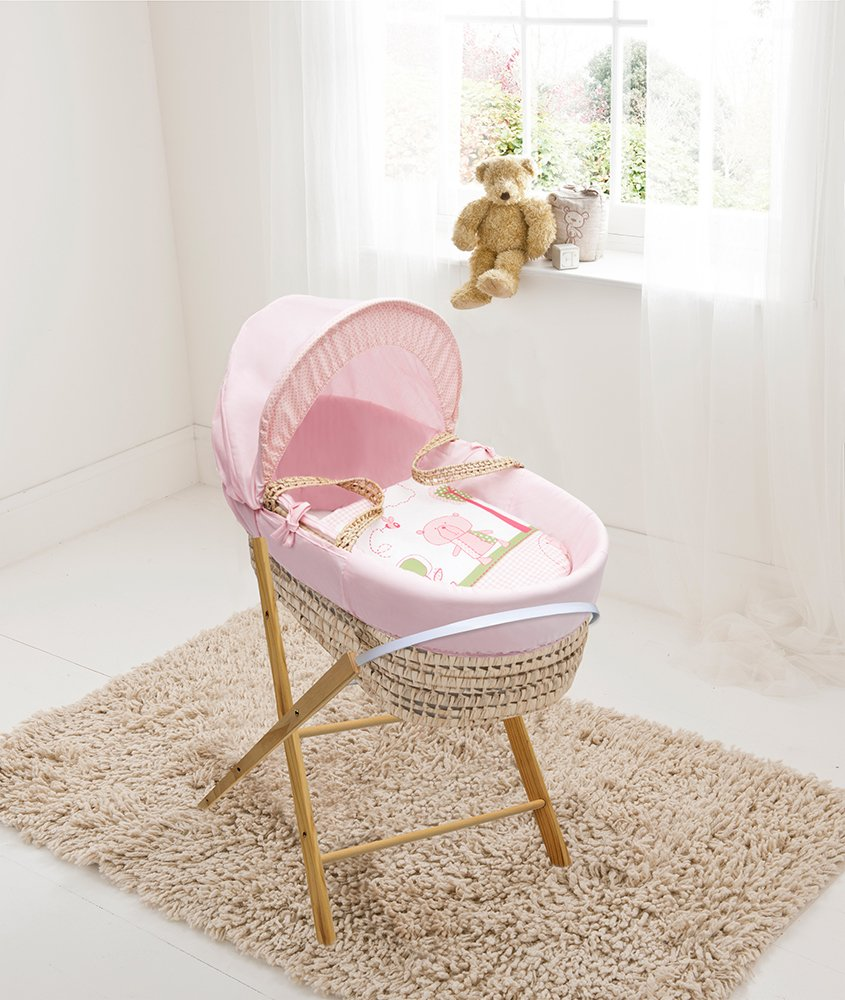 Pink Beary Nice Palm Moses Basket & Folding Stand Elegant Baby Suitable from newborn for up to 9kg, this Moses Basket uses Easy-care Poly Cotton with a soft padding surround Suitable from newborn to 9 months It also includes a comfortable mattress and an adjustable hood perfect to create a cosy sleeping space for your precious little one 1