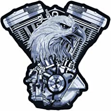 """Lethal Threat (LT30134) Eagle V-Twin Engine Embroidered Patch (11"""" x 11"""")"""