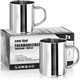 COM-FOUR® 2x kaffemuggar av rostfritt stål - 400 ml per kaffekopp, termiska dryckemuggar av högkvalitativt rostfritt stål - b