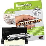 Cascha harmonica set découverte débutant I manuel français - harmonica 10 trous diatonique polyvalent en do I MP3-CD, livre d