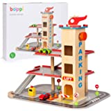 boppi 12 Piece Wooden Toy Garage Carpark 39cm High for Kids with Working 3 Floor Lift Elevator Petrol Pump Road Traffic Signs