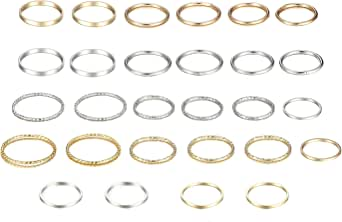 Yadoca, set di 28 anelli per nocche per donne e ragazze, stile vintage, impilabili, semplici anelli per pollice, argento e oro, gioielli alla moda