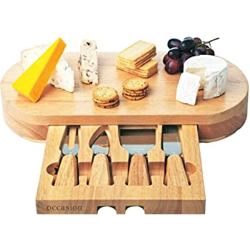 Occasion Oval Cheese Board With Integrated Drawer And 4
