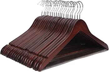 HKC HOUSECherry Wood Suit Hangers -12 Pack - with Non Slip Bar and Precisely Cut Notches - 360 Degree Swivel Chrome Hook - Cherry Finish Super Sturdy and Durable Wooden Hangers