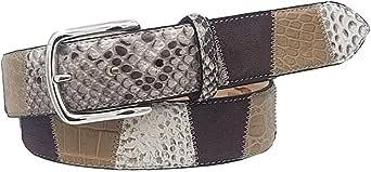 ESPERANTO Cintura in Coccodrillo e Pitone altezza 4 cm - Colore : marrone