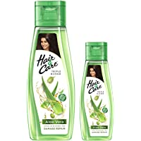 Hair & Care with Aloe Vera, Olive Oil & Green Tea Damage Repair Non-Sticky Hair Oil, 300 ml with Free 100 ml