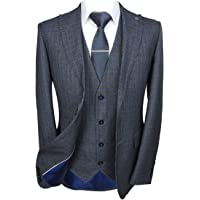 Paul Andrew Mens Tailored Fit Grey & Blue Checked Textured Suit