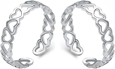 Om Jewells Rhodium Plated Link of Hearts Adjustable Toe Ring for Girls and Women TR10001004