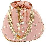 Heart Home Ethnic Clutch Silk Potli Batwa Pouch Bag with Beadwork Gift for Women (Peach) - CTHH13630