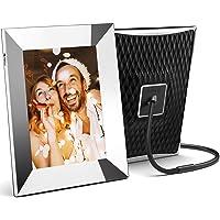 Nixplay 2K Smart Digitaler Bilderrahmen 9,7 Zoll Silber, Videoclips und Fotos sofort per E-Mail oder App teilen
