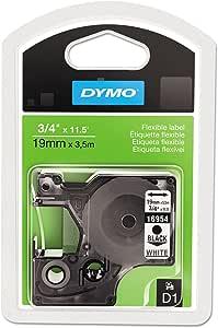 Dymo 16954 D1 Flexible Nylon Label Tape 1 9cm X 3 6m Black On White Bürobedarf Schreibwaren