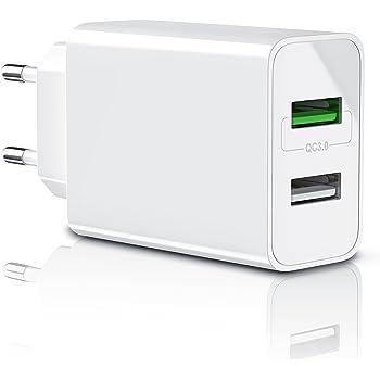 CSL-Computer Aplic - 30W Caricabatterie da Muro | Quick Charge 3.0 Alimentatore Parete USB con 2 Porte | Adattatore di Ricarica Rapida | Tecnologia Smart Charge