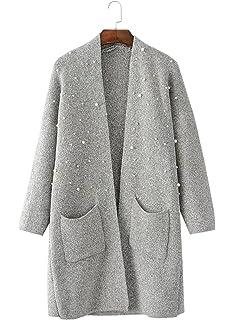 20e90804b49947 FUTURINO Damen Perlen Open Front Marled Strickjacke Pullover mit Taschen