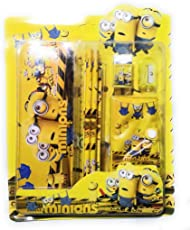 DFS Simple STATIONERY SET - MINIONS (With Pencil Box, Pencils, Eraser, Sharpener, Ruler, Notebook ...)