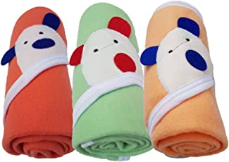 Brandonn Newborn Baby Blankets (36 X 27) (Orange, Peach, C-Green; Pack Of 3)
