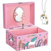SONGMICS Boîte à bijoux pour enfants - Ballerine musicale - Boîte à musique - Licorne - Grand compartiment avec miroir…