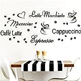 Grandora Muursticker Koffiesoorten I Zwart Creatieve Set I Koffiebonen Koffiebonen Koffiekop Keuken Eetkamer Sticker Muurstic