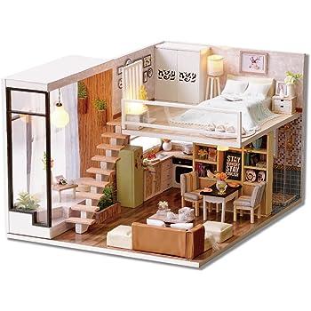 Diy Wooden Dollhouse Handmade Miniature Kit Leisurely Time Room