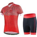 GWELL Fietsshirt voor dames, fietskleding, ademend, fietsshirt met korte mouwen + fietsbroek met 3D-zeem