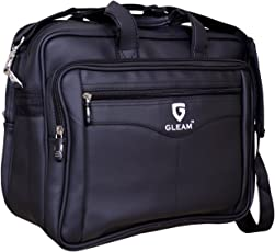 "GLEAM Synthetic Leather 15.6"" Black Laptop Briefcase"