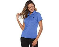 donhobo Ladies Polo Shirt Slim Fit Breathable Cool Polo Tee Training Running Short Sleeve Top