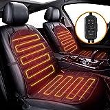 Audew 1 par biluppvärmda sätesöverdrag biluppvärmd sittdyna 12 V bil uppvärmd dyna med 2 läges temperaturkontroll, universell
