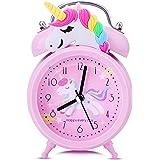 Tyst väckarklocka vid sängen, tickar inte rosa enhörning klocka för flickor sovrum skrivbord, klassisk hög tvillingklocka klo