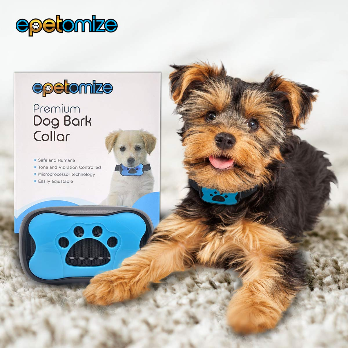 epetomize Dog Bark Collar NO SHOCK – Safe harmless Anti Bark Collar with HUMANE VIBRATION – Small medium and Large size Breeds – Automatic Activation Barking Collar – Easily Adjustable with No Remote