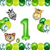 Globo 1 Año Verde,Selva Fiesta de Cumpleaños Decoracion,Globos Grandes de Cumpleaños,Globo Numero 1,1 Globo Cumpleaños,Decora