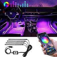 Striscia LED Auto con APP, Winzwon Luci LED Interne per Auto, Accessori Auto con 48 LEDs Impermeabile, Strisce Led Auto…