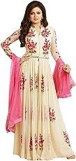 Panihari Fashion Women's Georgette Semi-Stitched Embroidered Anarkali Gown (CREAM - Color_Free Size)