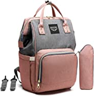 LEQUEEN Diaper Bag Backpack, Large Anti-Water Travel Backpacks for Mom and Dad (Flax), One of The Most Professional Multi-Functional Maternity Baby Nappy Changing Bags Pink LEQUEEN