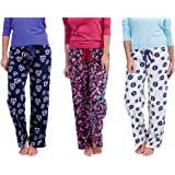 Womens Cotton Printed Pyjama Set (with Waist Rope) (Navy, Violet, White,Sandal) (Pack of 10)