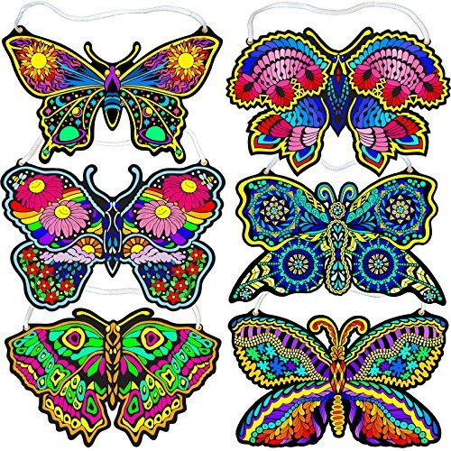 Fuzzy Velvet Hanging Butterflies (Beautiful Coloring Designs) by Stuff2Color -
