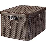 CURVER | Rangement Style Aspect rotin L + couvercle, Chocolat, Storage Others, 44,5x33x24,8 cm
