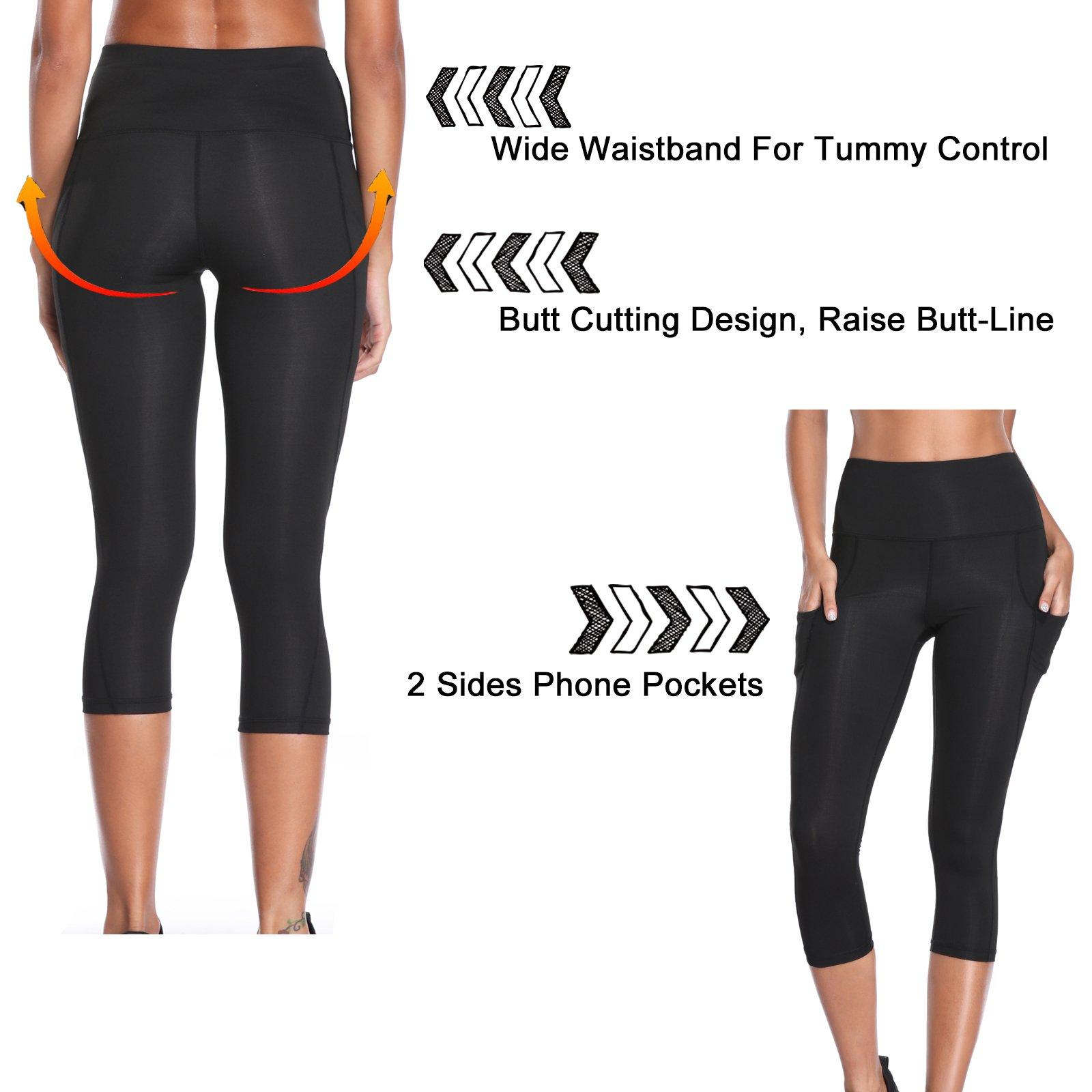 b1cd4501f0a0d Joyshaper Gym Leggings with Pockets Women 3/4 Length Cropped Capri Trousers Yoga  Pants Tights Mesh Stretchy Skinny Slim Workout Fitness Training Athletic ...